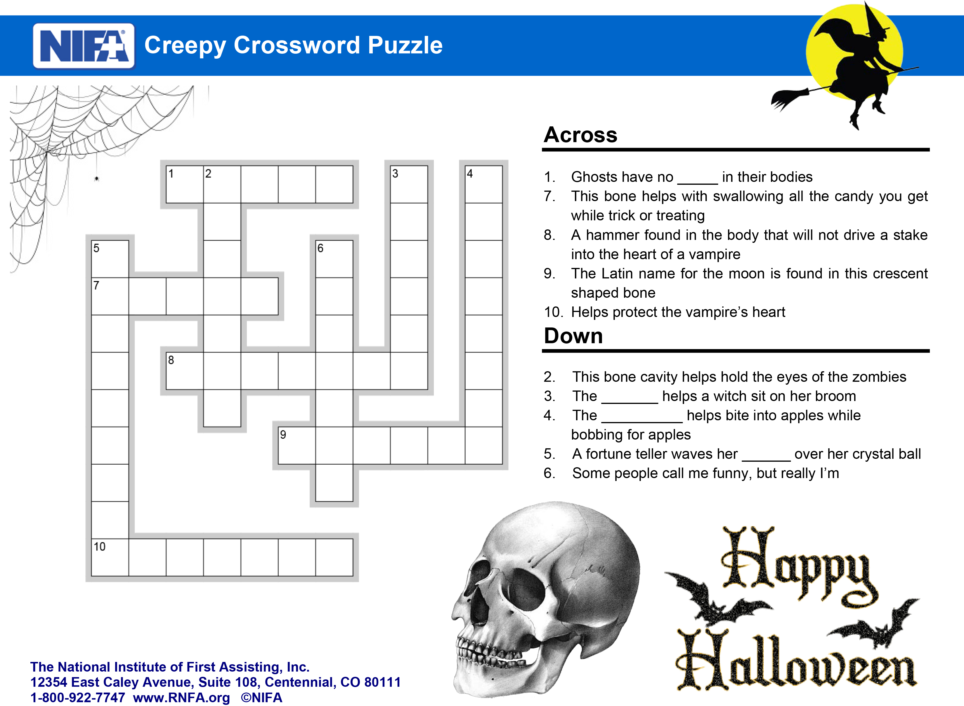 Creepy Crossword Clues - October 2016 - RNFA