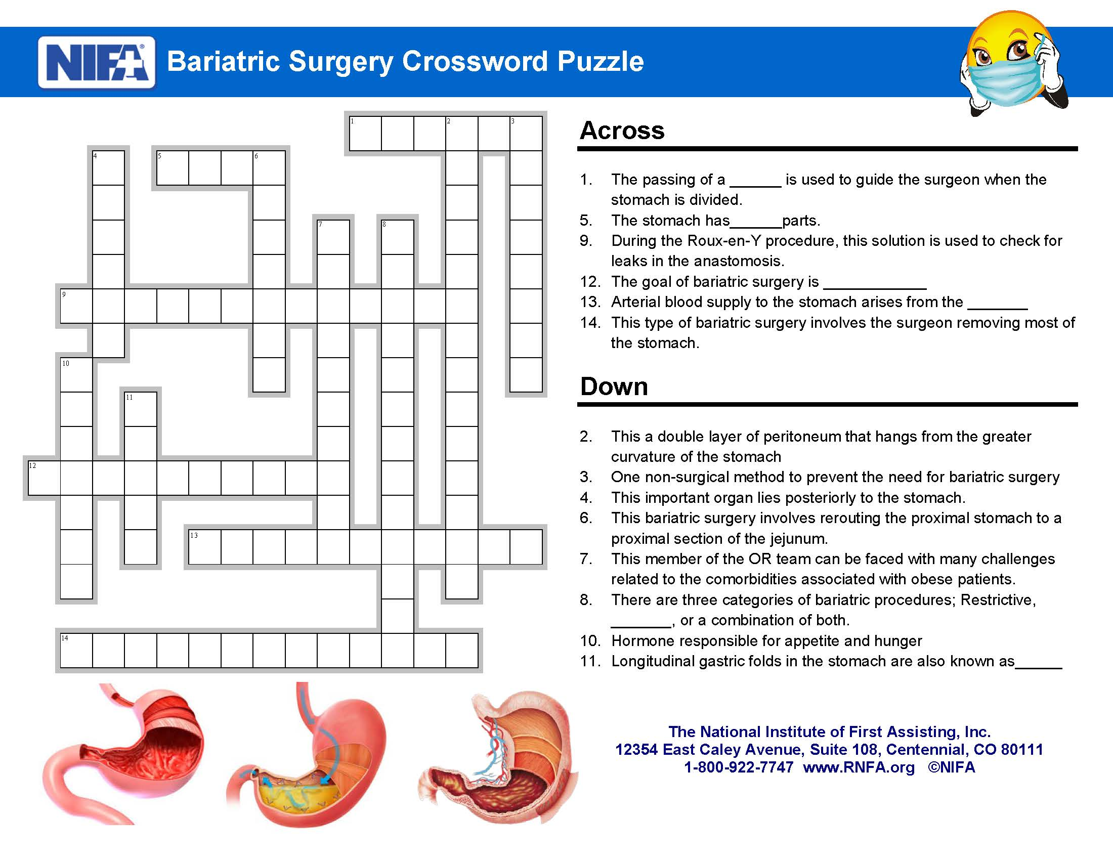 Bariatric Surgery Crossword Clues - January 2017 - RNFA